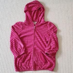 Juicy Couture Pink Terry Striped Zip-Up Hoodie